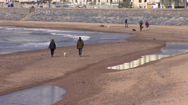 a quiet exmouth beach with people enjoying their daily exercise and observing social distancing during coronavirus lockdown over easter weekend - beach stock videos & royalty-free footage