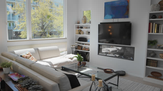 quiet living room of a smart home - bedclothes stock videos & royalty-free footage
