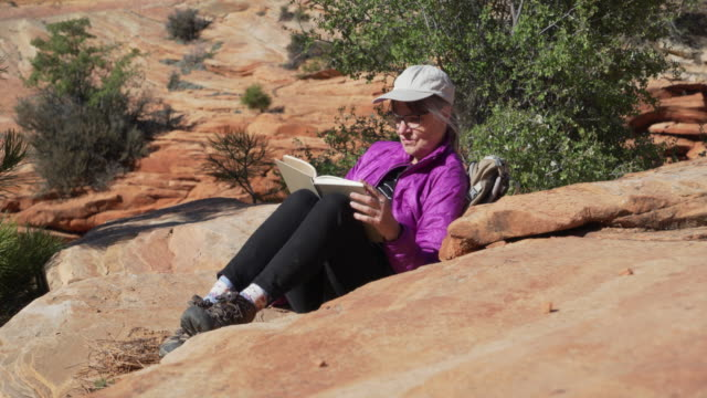 quiet scene of healthy senior woman in the outdoors reading a book - sandstone stock videos & royalty-free footage