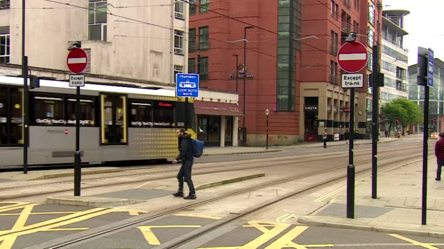 quiet street scenes in manchester city centre as rising coronavirus cases mean the area could soon face the highest level of restrictions - attitude stock videos & royalty-free footage