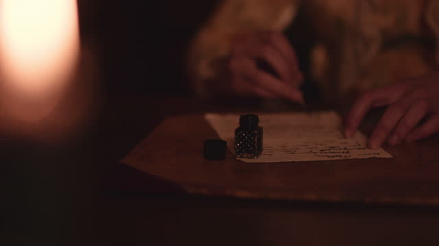 quill and ink by candle light. - 19th century stock videos & royalty-free footage