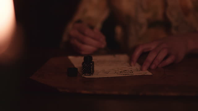 quill and ink by candle light. - correspondence stock videos & royalty-free footage