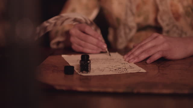 quill and ink by candle light. - writing stock videos & royalty-free footage