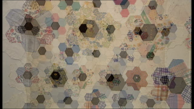 quilt made by child prisoners in japan to go on display at victoria and albert museum; various shots of quilt olga henderson interview sot - quilt stock videos & royalty-free footage