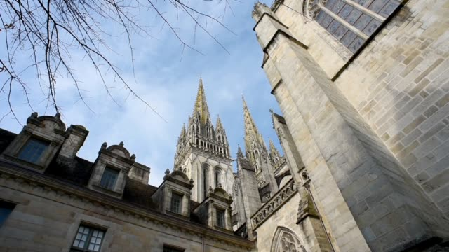 quimper cathedral, finistere. - gothic stock videos & royalty-free footage