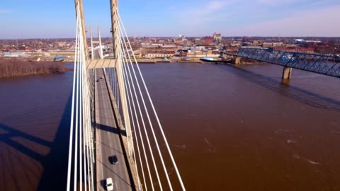 quincy bayview bridge at quincy illinois - illinois stock videos & royalty-free footage