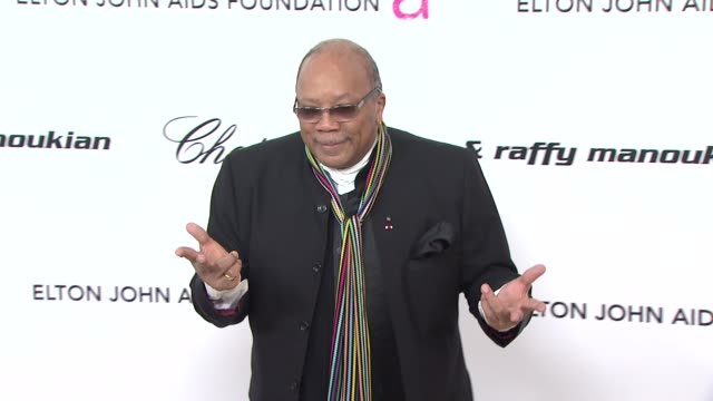 quincy jones at the 19th annual elton john aids foundation academy awards viewing party at west hollywood ca - quincy jones stock videos & royalty-free footage