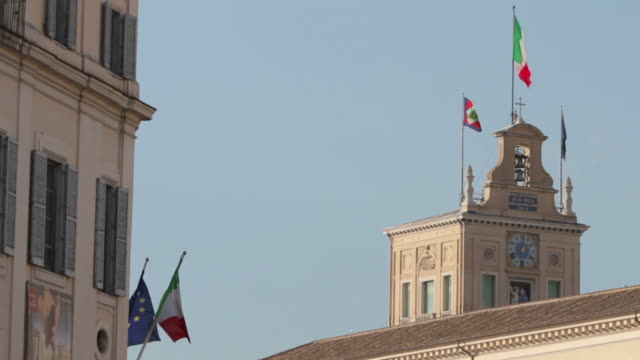 Quirinal Palace and Italian Flags in Rome