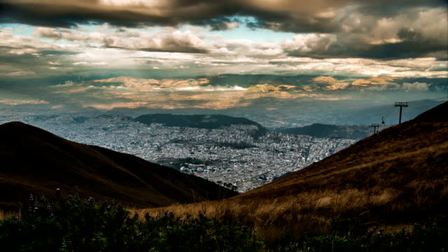quito city form pichinca mountain timelapse - ecuador stock videos & royalty-free footage