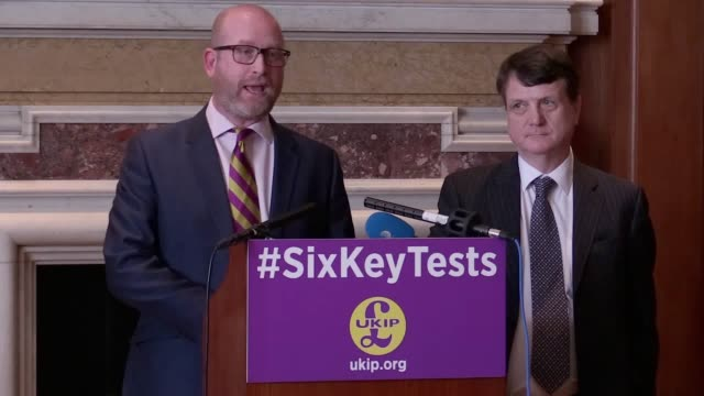 quotes from paul nuttall and ukip brexit spokesman gerard batten mep as ukip sets out six tests for britain's exit from the european union they talk... - spokesman stock videos and b-roll footage