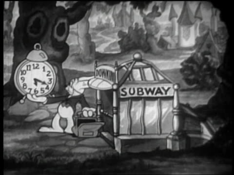 B/W 1933 ANIMATED rabbit looks at clock w/hands going fast, puts it in bag + goes in subway entrance