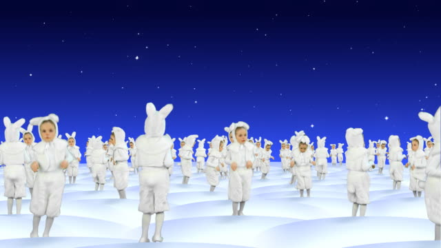 stockvideo's en b-roll-footage met rabbits dancing at snowfield celebrating christmas - large group of animals