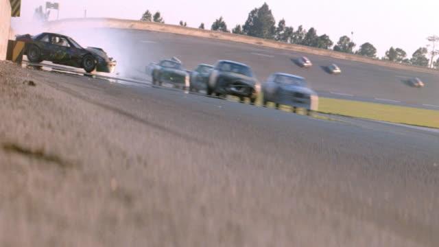 a race car crashes into a wall. - crash stock videos & royalty-free footage