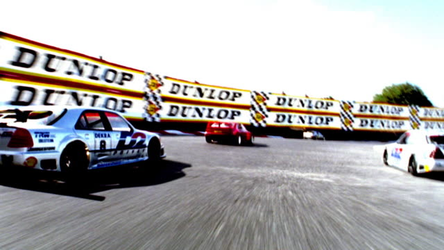 OVEREXPOSED race car point of view with cars racing on track / crashing at end (remote control cars)