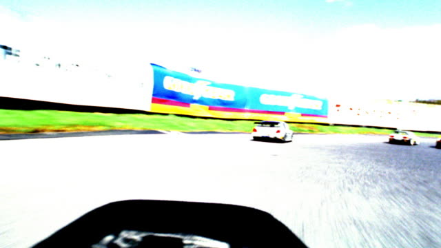 OVEREXPOSED race car point of view with cars racing on track / crashing + turning over (remote control cars)