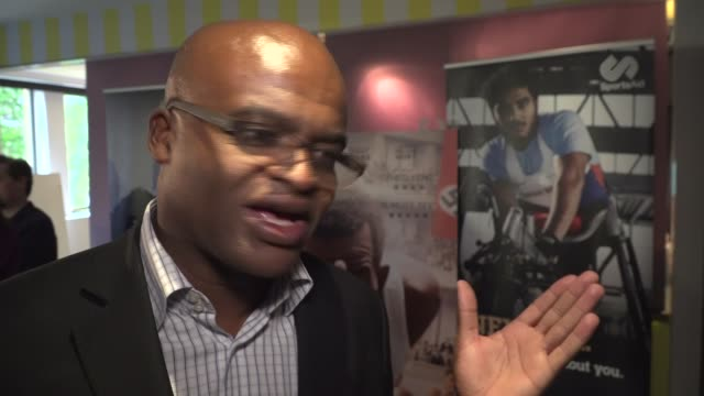 interviews; akabusi interview sot / guests standing around talking to press including kriss akabusi and duncan goodhew - kriss akabusi stock videos & royalty-free footage
