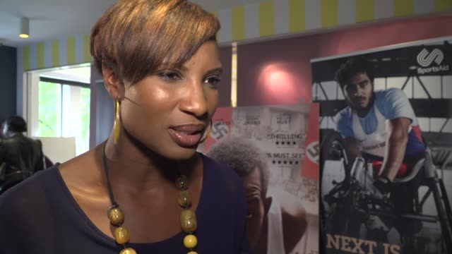 'Race' film Interviews ENGLAND London EXT Denise Lewis interview SOT on Jesse Owens and film 'Race' / on team GB / Denise Lewis and Linford Christie...