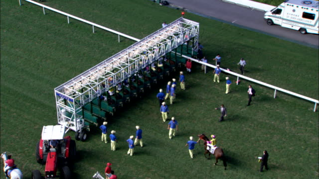 race horses dart out of the starting gate. available in hd. - horse racing stock videos and b-roll footage