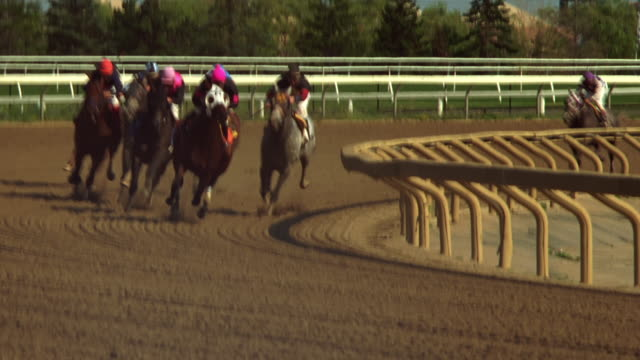 race horses round the bend - horse racing stock videos & royalty-free footage