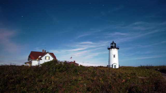 vidéos et rushes de race point light time lapse - maine