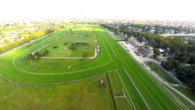 race track aerial video - horse racing stock videos & royalty-free footage