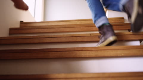 race you to the top! - steps and staircases stock videos & royalty-free footage