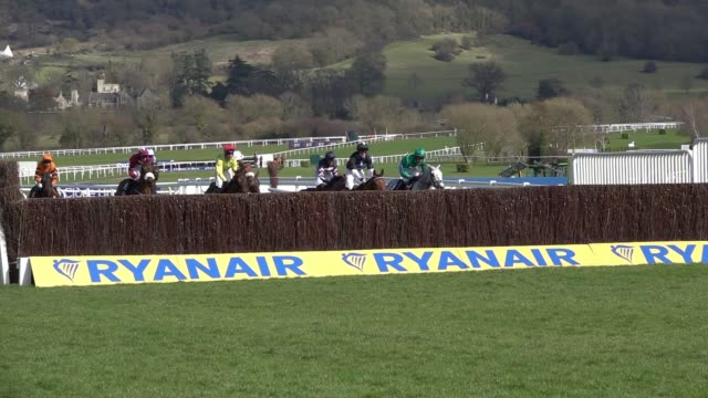 racegoers watch the action at cheltenham racecourse on st patrick's thursday on march 15 2018 in cheltenham england thousands of racing enthusiasts... - cheltenham racecourse stock videos and b-roll footage