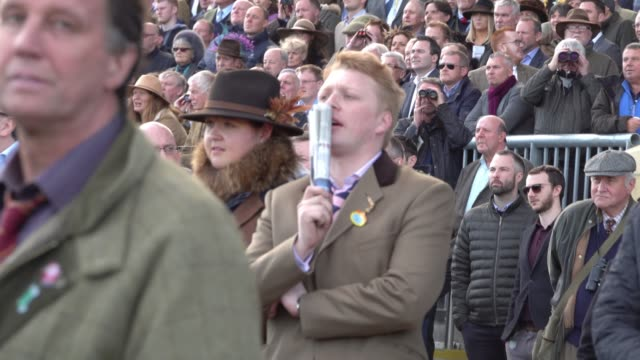vídeos de stock, filmes e b-roll de racegoers watch the racing at cheltenham racecourse on march 13 2018 in cheltenham england thousands of racing enthusiasts are expected at the... - cheltenham