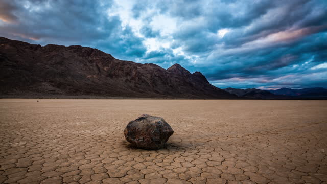 "racetrack playa with its ""sailing stones"" - death valley national park stock videos & royalty-free footage"