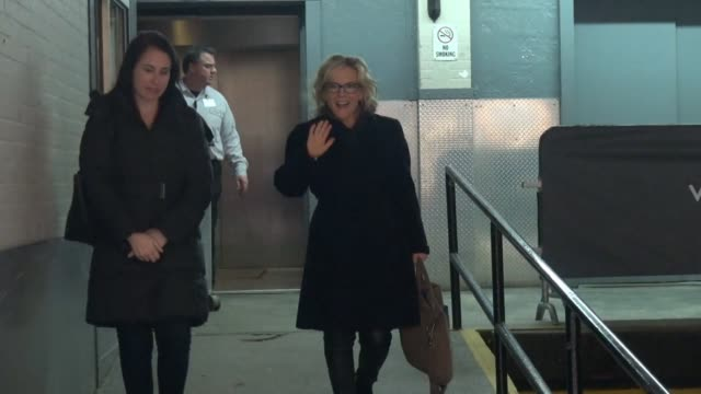 rachael harris leaves the huffington post poses for photos with fans in celebrity sightings in new york - rachael harris stock videos and b-roll footage
