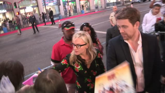 rachael harris michael arden greet fans while departing wreck it ralph premiere in hollywood at celebrity sightings in los angeles rachael harris... - rachael harris stock videos and b-roll footage
