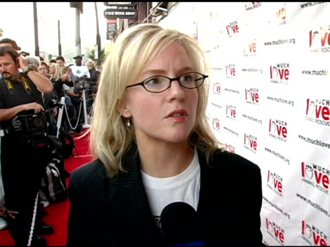 rachael harris on this being her first year participating in the event on growing up with rescued dogs on having a thirteen year old rescue dog on... - rachael harris stock videos and b-roll footage