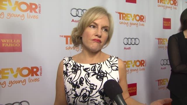 rachael harris on why she supports the trevor project what she is most looking forward to and why katy perry is deserving of the trevor hero award... - the trevor project stock videos and b-roll footage