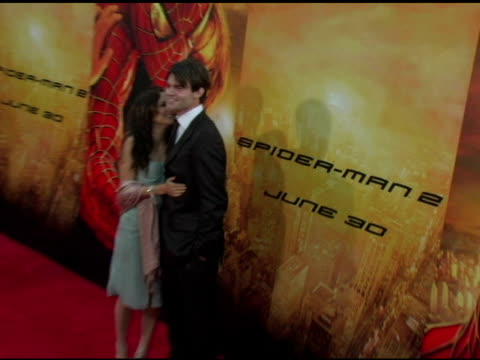 rachael leigh cook and daniel gillies at the 'spider-man 2' los angeles premiere arrivals at the mann village theatre in westwood, california on june... - house spider stock videos & royalty-free footage
