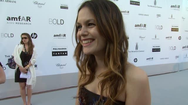 Rachel Bilson on not having any pockets and what she's wearing at the amfAR Cinema Against AIDS Gala at Antibes