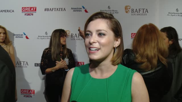 vídeos de stock, filmes e b-roll de interview rachel bloom on being a golden globe nominee and on being at the event at the bafta los angeles awards season tea party at four seasons... - tea party