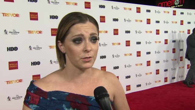 interview rachel bloom on presenting tonight on getting involved with the trevor project at trevorlive los angeles 2015 at hollywood palladium on... - the trevor project stock videos and b-roll footage