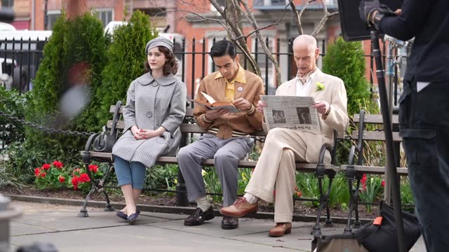 """rachel brosnahan and john waters are seen on set for """"the marvelous mrs. maisel"""" in the west village on march 31, 2021 in new york city. - celebrity sightings stock-videos und b-roll-filmmaterial"""