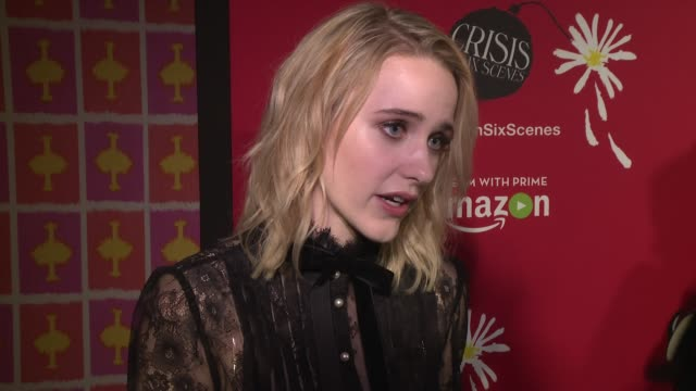 interview rachel brosnahan talks about working with woody allen and amazon at crisis in six scenes world premiere screening held in new york city at... - woody allen stock videos & royalty-free footage