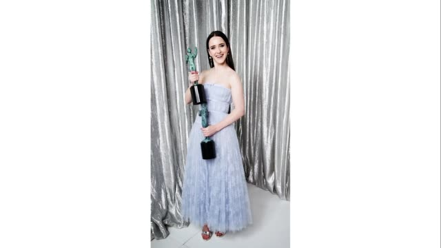 rachel brosnahan, winner of outstanding performance by a female actor in a comedy series and outstanding performance by an ensemble in a comedy... - shrine auditorium stock videos & royalty-free footage