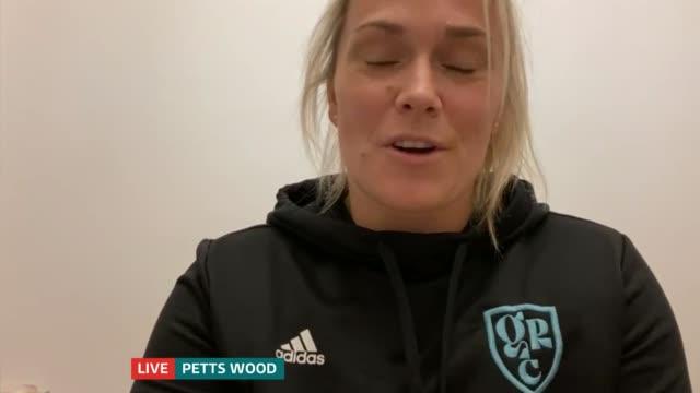 rachel burford talks about the girl's rugby club england london petts wood int rachel burford live interview via internet sot / gir split screen... - itv london tonight stock videos & royalty-free footage