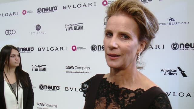 INTERVIEW Rachel Griffiths on the event at 25th Annual Elton John AIDS Foundation's Academy Awards Viewing Party in Los Angeles CA