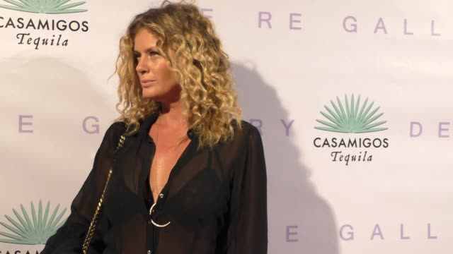 rachel hunter at the brian bowen smith metallic life opening reception at de re gallery in west hollywood in celebrity sightings in los angeles, - レイチェル ハンター点の映像素材/bロール