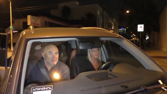 rachel hunter outside craig's restaurant in west hollywood in celebrity sightings in los angeles, - レイチェル ハンター点の映像素材/bロール