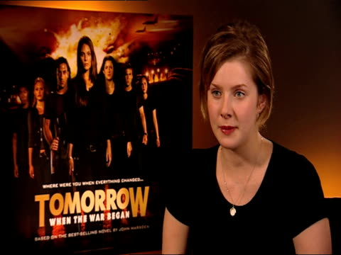rachel hurd-wood on her co-stars at the tomorrow, when the war began interview at london england. - entertainment occupation stock videos & royalty-free footage