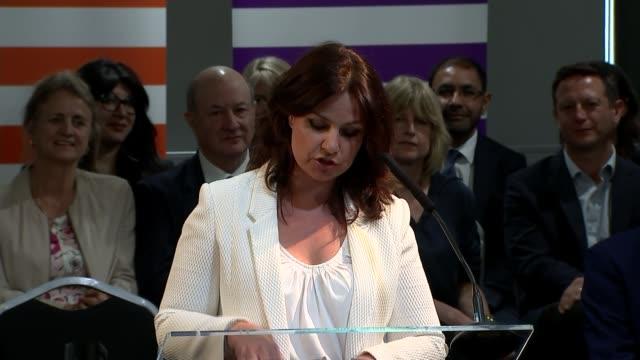rachel johnson to stand in european election for change uk england bristol int heidi allen mp speech sot - heidi allen stock videos & royalty-free footage