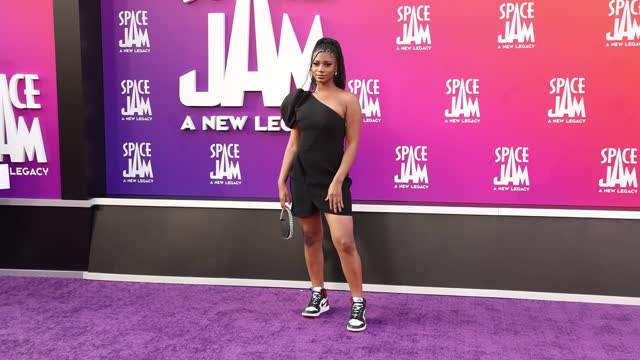 """rachel lindsay attends the premiere of warner bros """"space jam: a new legacy"""" at regal live on july 12, 2021 in los angeles, california. - space jam stock videos & royalty-free footage"""
