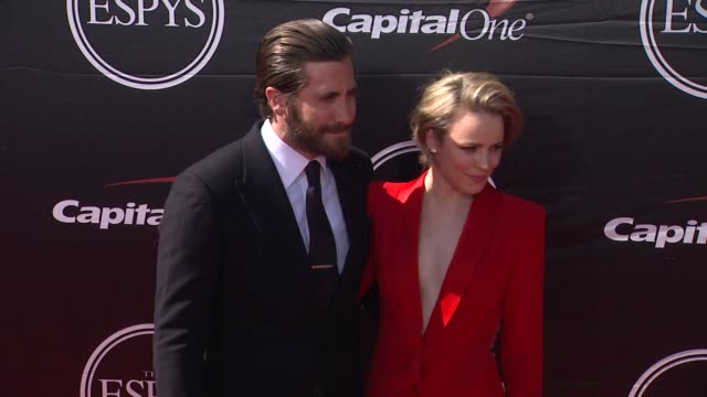 rachel mcadams and jake gyllenhaal at the 2015 espys at microsoft theater on july 15 2015 in los angeles california - microsoft theater los angeles stock videos and b-roll footage