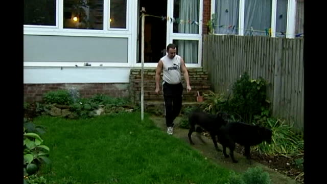 robert napper pleads guilty tx london colin stagg out of house with dogs then with them in garden - robert napper stock videos & royalty-free footage