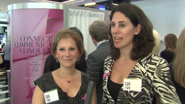 Rachel Sklar and Suzanne Bartholomew talk about how it feels to be part of the campaign at the Bloomingdale's The Estee Lauder Companies Kick Off...